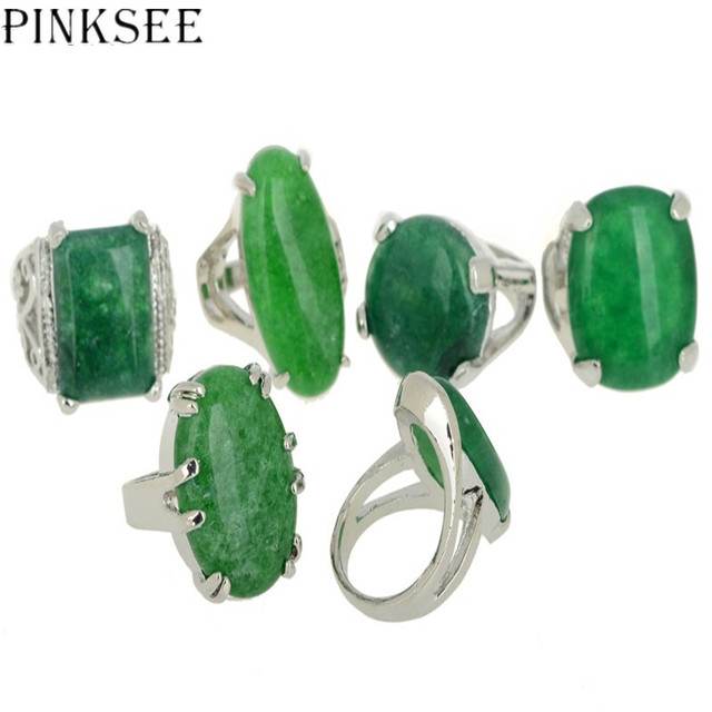 Pinksee 5pcs Punk Green Stone Rings For Men Women Silver Color Big