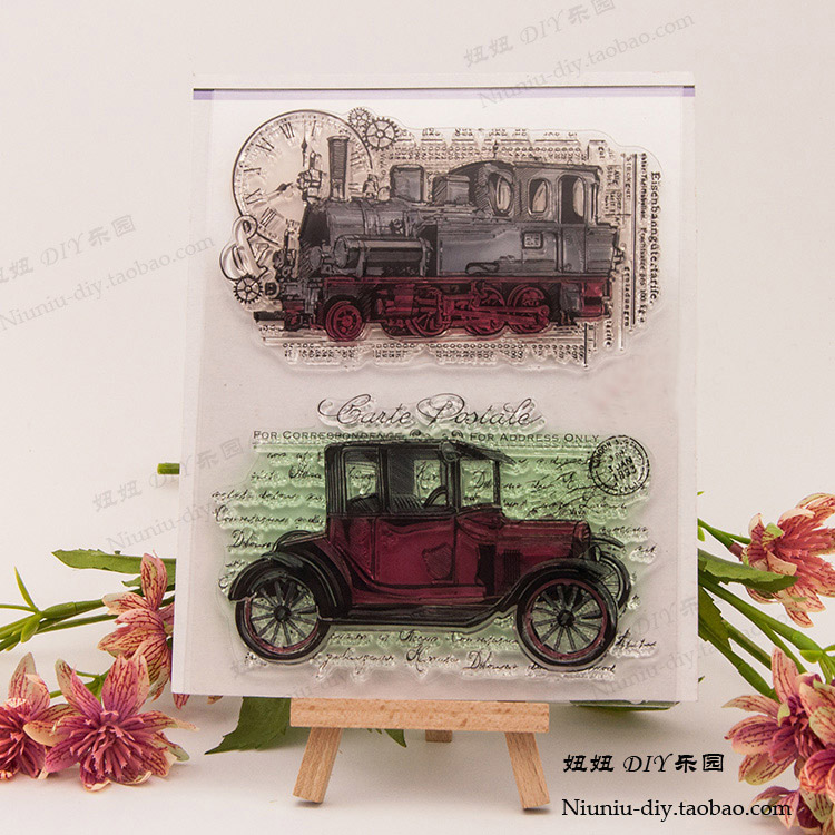 Vintage Classic Car Scrapbook DIY photo cards account rubber stamp clear stamp flower seal kid transparent silicone gift stamps scrapbook diy photo album card hand account rubber seal product seal transparent seal stamp cat