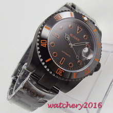 цена 40mm Bliger Black Dial ceramic bezel Sapphire Glass PVD Case Orange Marks Automatic movement men's Watch онлайн в 2017 году