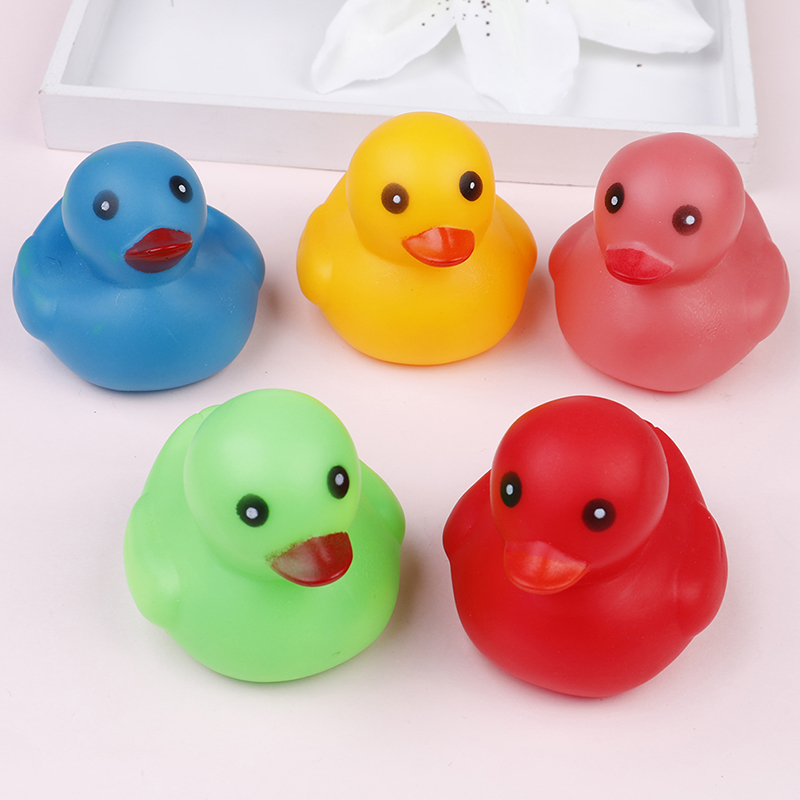 Toyzhijia 5pcs Baby Bathroom Water Pool Funny Toys Kawaii Mini Colorful Rubber Float Squeaky Sound Duck Bath Toy For Boys Gifts Bath Toy Classic Toys