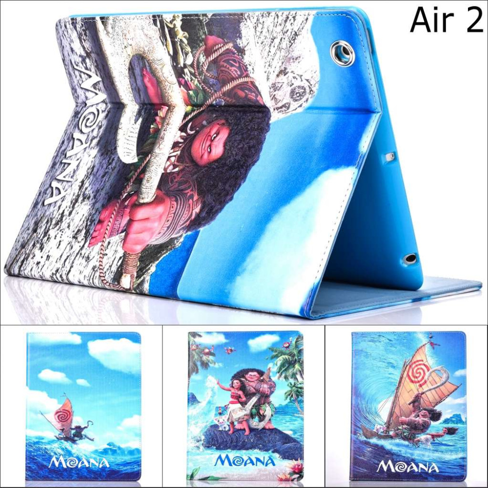 Fashion Movie Moana Croods ocean Pu leather stand holder Cover Case For Apple iPad air 2 for ipad air2 With screen protector
