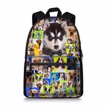 Cute Children School Bags French Animal Siberian Husky Schoolbag for Teenager Girls High School Child Kids