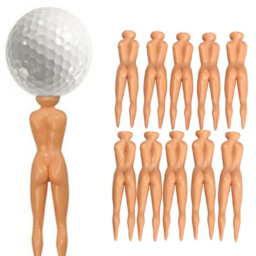 2018 Hot Sell10Pcs Novelty Joke Nude Lady Golf Tee Plastic Practice Training Golfer Tees Free Shipping SS