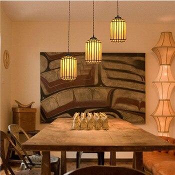 Cylindrical Tiffany Pendant Lights E27 Led Chinese Retro Three-headed Classical Restaurant Kitchen Bar Cafe Corridor Bay Window