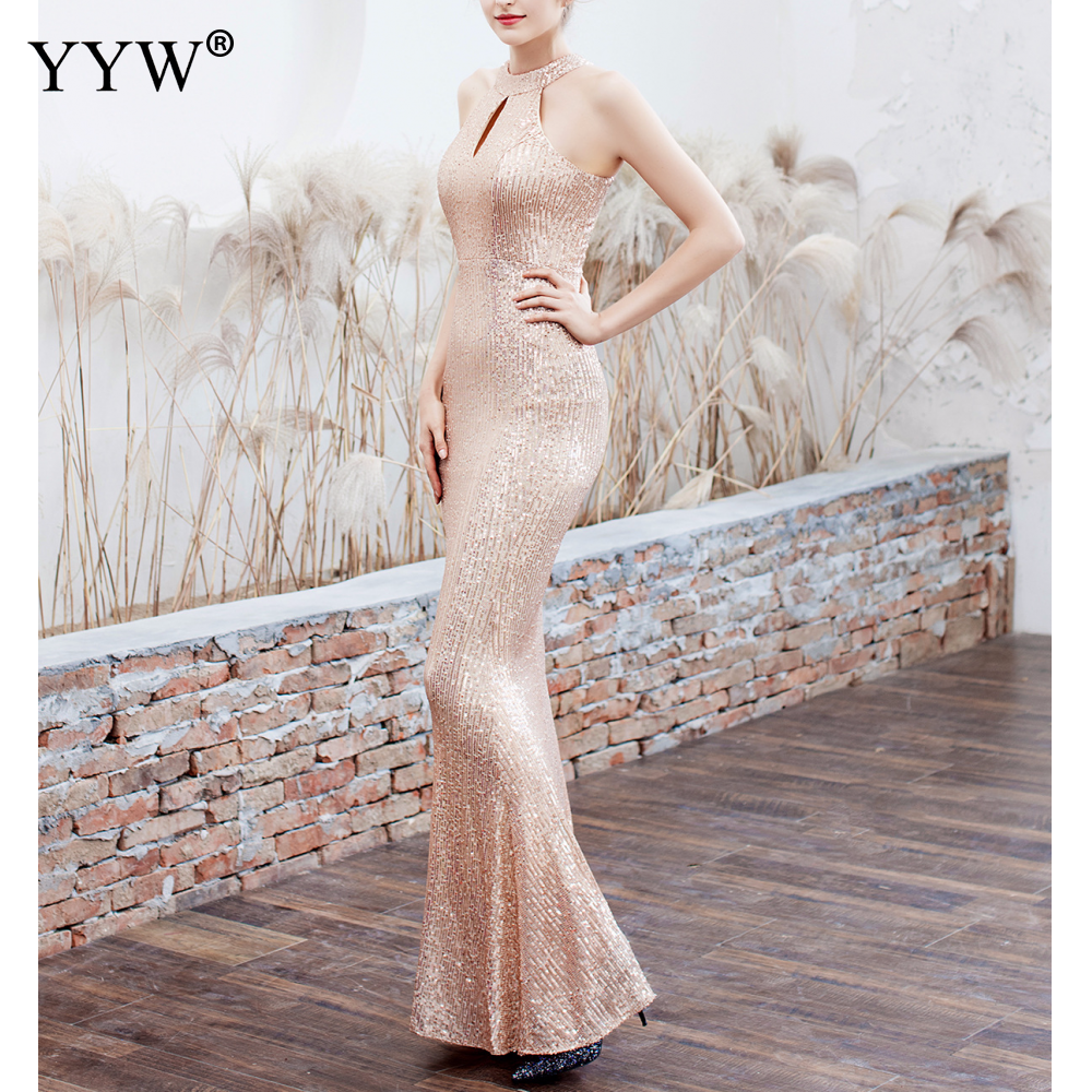 Elegant Sequined Halter Sleeveless Mermaid Long Evening Dress 6