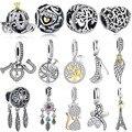 DIY Silver Charm Fit Original Pandora Bracelet Beads 925 Sterling Silver Love Dangle Charm Crystal Heart ,Flower,Tower,Tree Bead