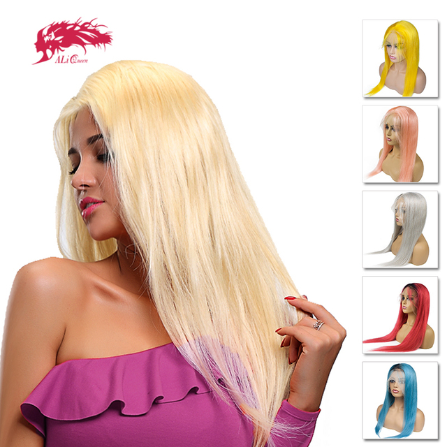 """Ali Queen Brazilian Remy Straight Hair Color Full Lace Human Hair Wigs Pre Plucked With Baby Hair 14""""-24"""" Ombre Full Lace Wig"""
