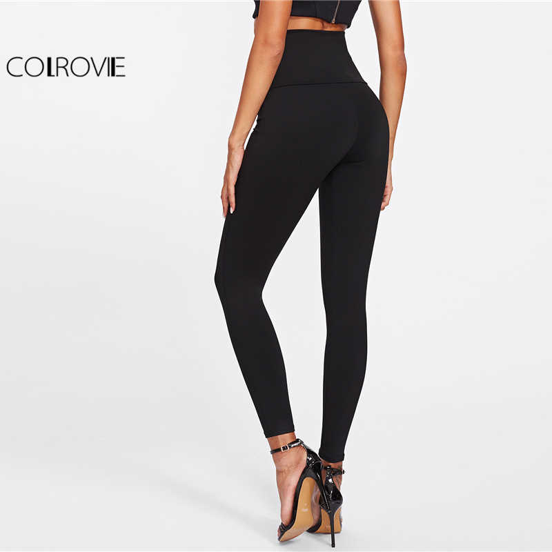 edef2a9766e48 ... COLROVIE 2018 Spring High Waist Skinny Leggings Black Empire Eyelet  Lace Up Sexy Leggings Women Elegant ...