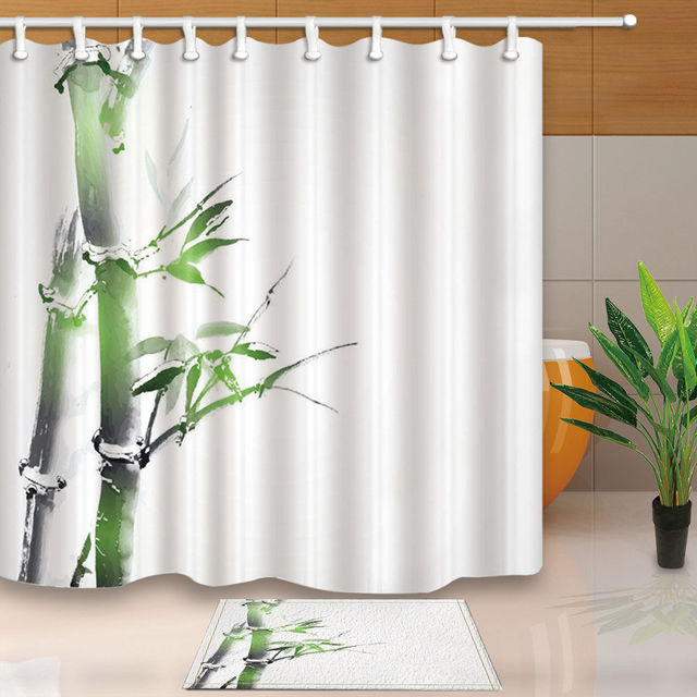 Warm Tour Grün bambus Badezimmer gewebe Duschvorhang Sets ...