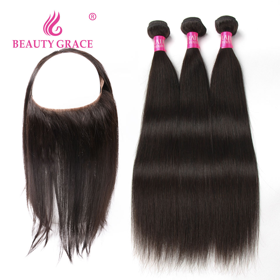 Human Hair Weave Bundles With Frontal 360 Lace Frontal With Bundle Peruvian Straight Hair 2 3