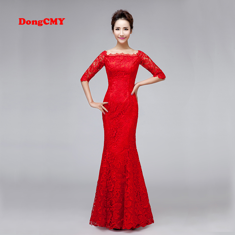 DongCMY Luxury bridal red Color 2019   Evening     dress   long formal neckline Lace bandage medium sleeve Women Gown Party   Dresses