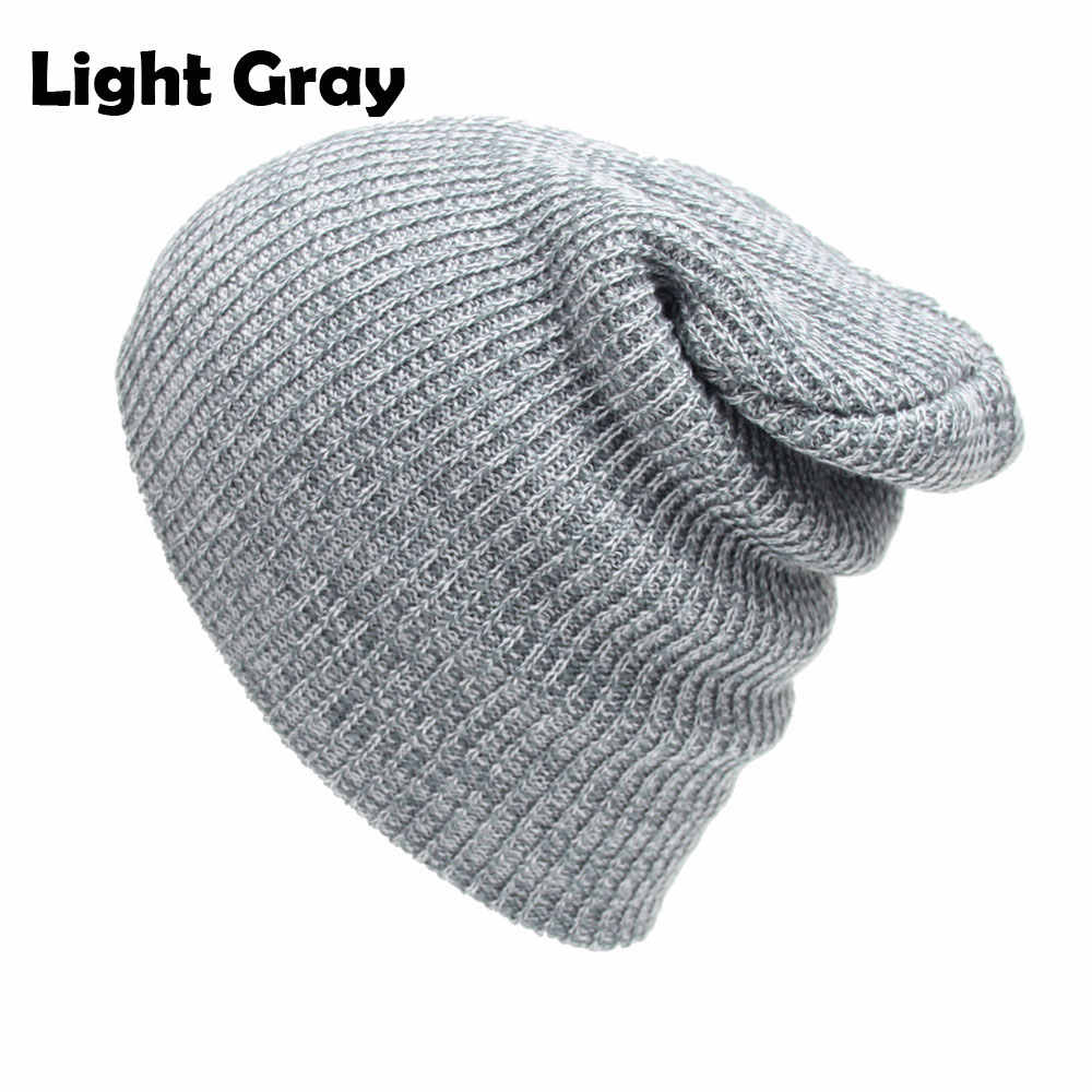 8d8ac37298b46 Cable Knitted Baggy Beanie Hats for Men and Women Winter Skull Caps Slouchy  Striped Skullies Brown