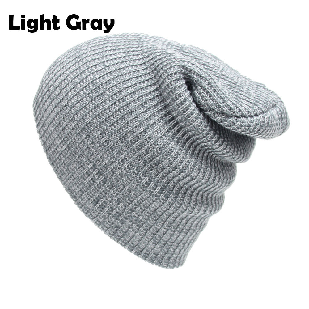 7cc1cb2bc94 US $3.63 48% OFF Cable Knitted Baggy Beanie Hats for Men and Women Winter  Skull Caps Slouchy Striped Skullies Brown Beanies Black Gray Dark Red -in  ...