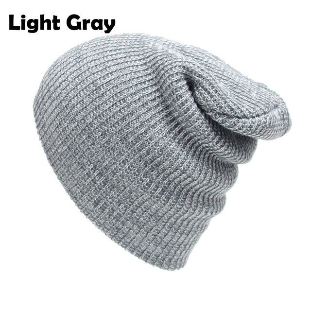 2b1c6ed3e91 Cable Knitted Baggy Beanie Hats for Men and Women Winter Skull Caps Slouchy  Striped Skullies Brown Beanies Black Gray Dark Red