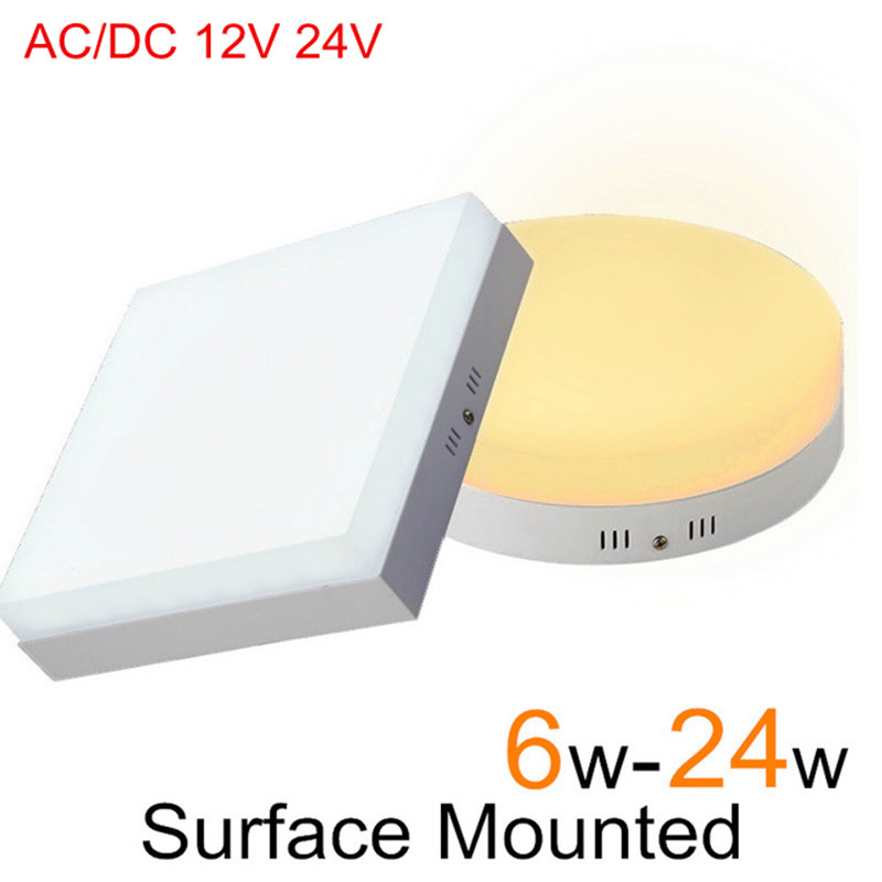 AC/DC 12V 24V LED Panel light 6W 12W 18W 24W Square Round Surface Mounted LED Ceiling lamp for Home Kitchen + LED DriverAC/DC 12V 24V LED Panel light 6W 12W 18W 24W Square Round Surface Mounted LED Ceiling lamp for Home Kitchen + LED Driver