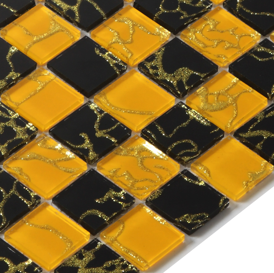 Black Yellow Gold Foil Crystal Mirror Glass Mosaic Tiles
