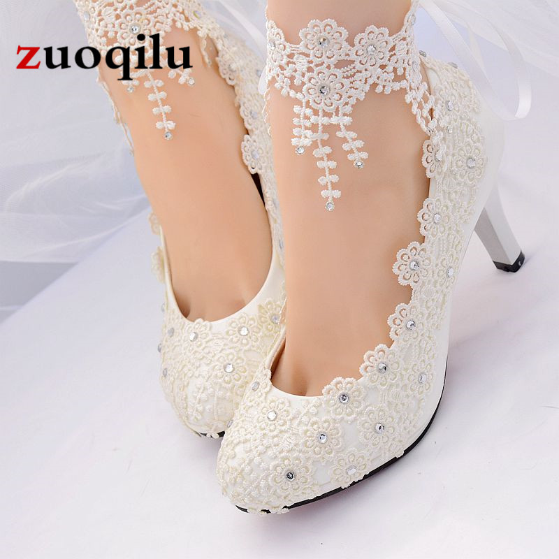 Wedding White Pumps: Lace Flower White Wedding Shoes Women High Heels Round Toe