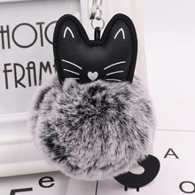 Hot Sale Cute Cat Keychain Pendant Women Key Ring Holder Pompoms Key Chains For Gift Dropshipping(China)