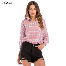 PGSD Spring summer Fashion big size women clothes loose Turn-down collar Bat sleeves Button Pink checked casual Shirts female