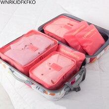 6 Pieces / Set Of Travel Bag Storage Bag  Set Nylon Packing Cube Travel Bag System Durable Unisex Clothing Bag