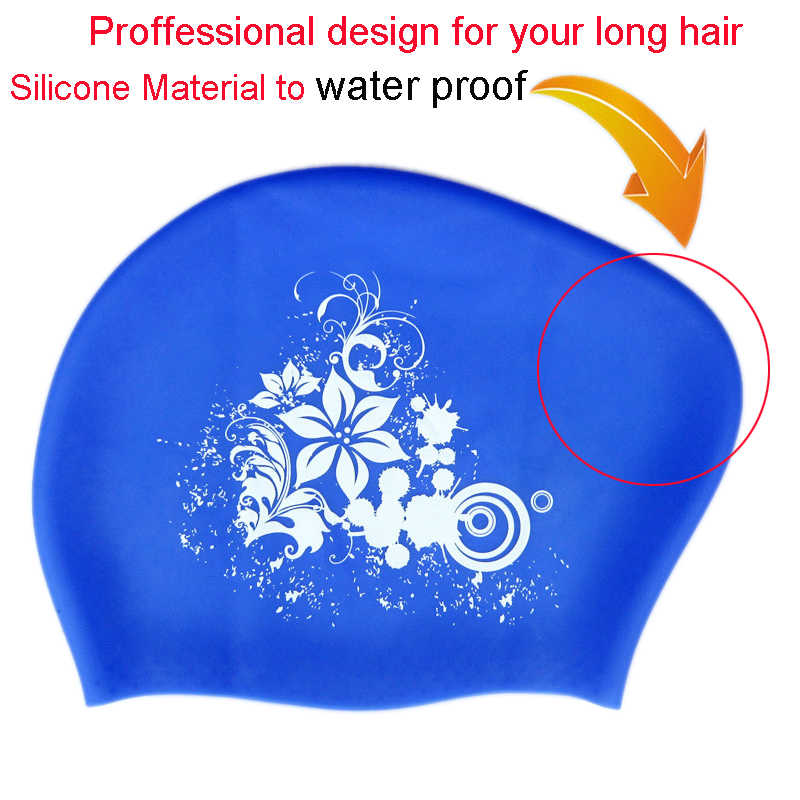... 100% Silicone Swimming Cap for Long Hair Women s Waterproof Swim Caps  Ladies Diving Hood hat ... fc098278bb