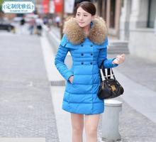 Горячая распродажа! 2015 новых зимняя куртка и женские длинный тонкий теплый сгущает верхняя одежда женщин зимнее пальто vestidos Большой размер одежды
