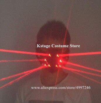 KS12 Rouge Lumière Laser Masque Fête Scène Danse Laser Costumes Robot Hommes Lumineux Projecteur Rechargeable Tenues Dj Casque Bar Disco