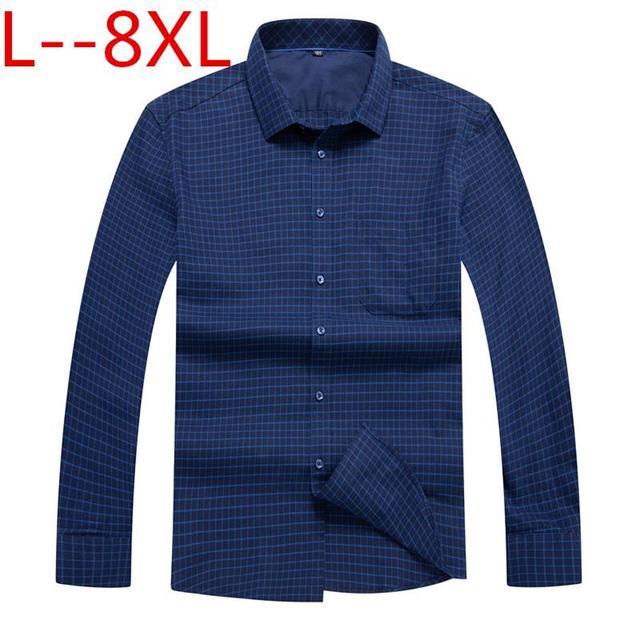 c2c2b0e543a plus 10XL 8XL 6XL 5XL 4XL Men Shirt Brand 2018 Male High Quality Long Sleeve  Shirts Casual Slim Fit Blue red Man Dress Shirts