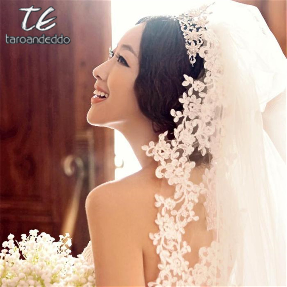 3M Cathedral Length Lace Edge Applique Long Bridal Head Veil With Comb Wedding Accessories Bride Mantilla Wedding Veil
