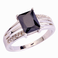 Victorianism Stylish Emerald Cut Black Spinel & White Sapphire 925 Silver Ring Size 6 7 8 9 10 11 12 Wholesale Free Shipping