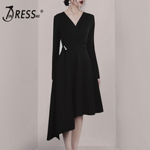 INDRESSME 2019 New Fashion Pearl Botton Black Solid  Long Sleeves V Neckline Blazer Padded Midi Asymmetrical Ruffles Hem Dress недорго, оригинальная цена