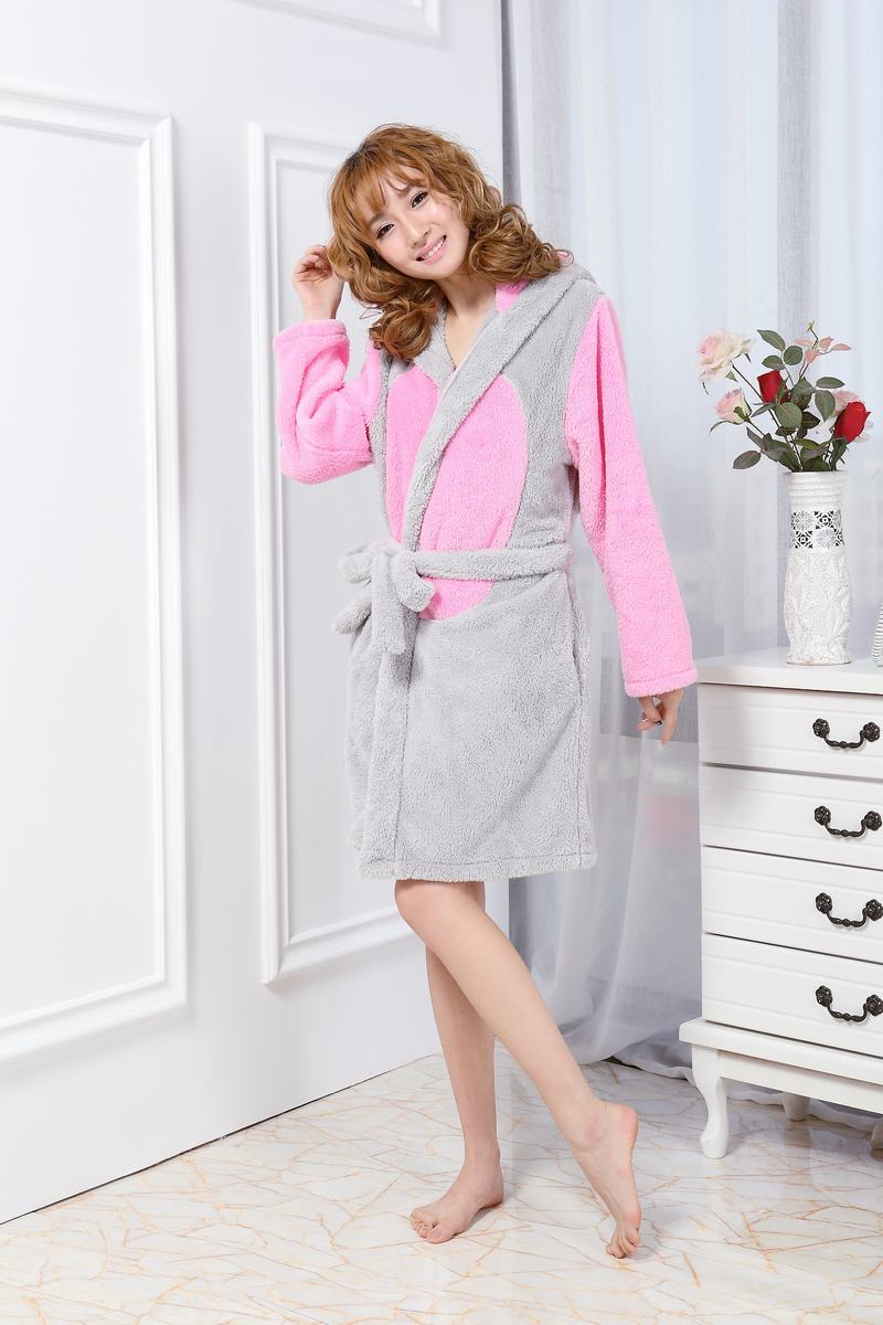 6352bce8e6 autumn winter flannel robe Women s night robe sexy bathrobe Cute animal  chipmunk dressing gowns for women