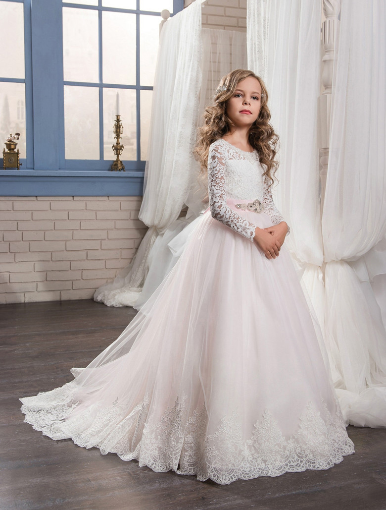 2019 Light Pink Tulle White Lace Flower Girl Dress Long Sleeves O-Neck Girls First Communion Dress Birthday Gown Vestidos white casual round neck ruffled dress