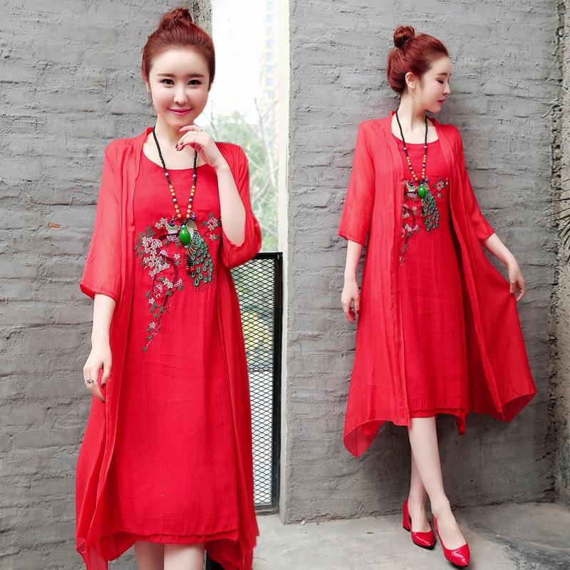 2019 New Arrival Soft Cotton Linen Summer Dress Fashion Embroidery Phoenix Loose Two Piece Set Dress Suits Women Casual Dress 4