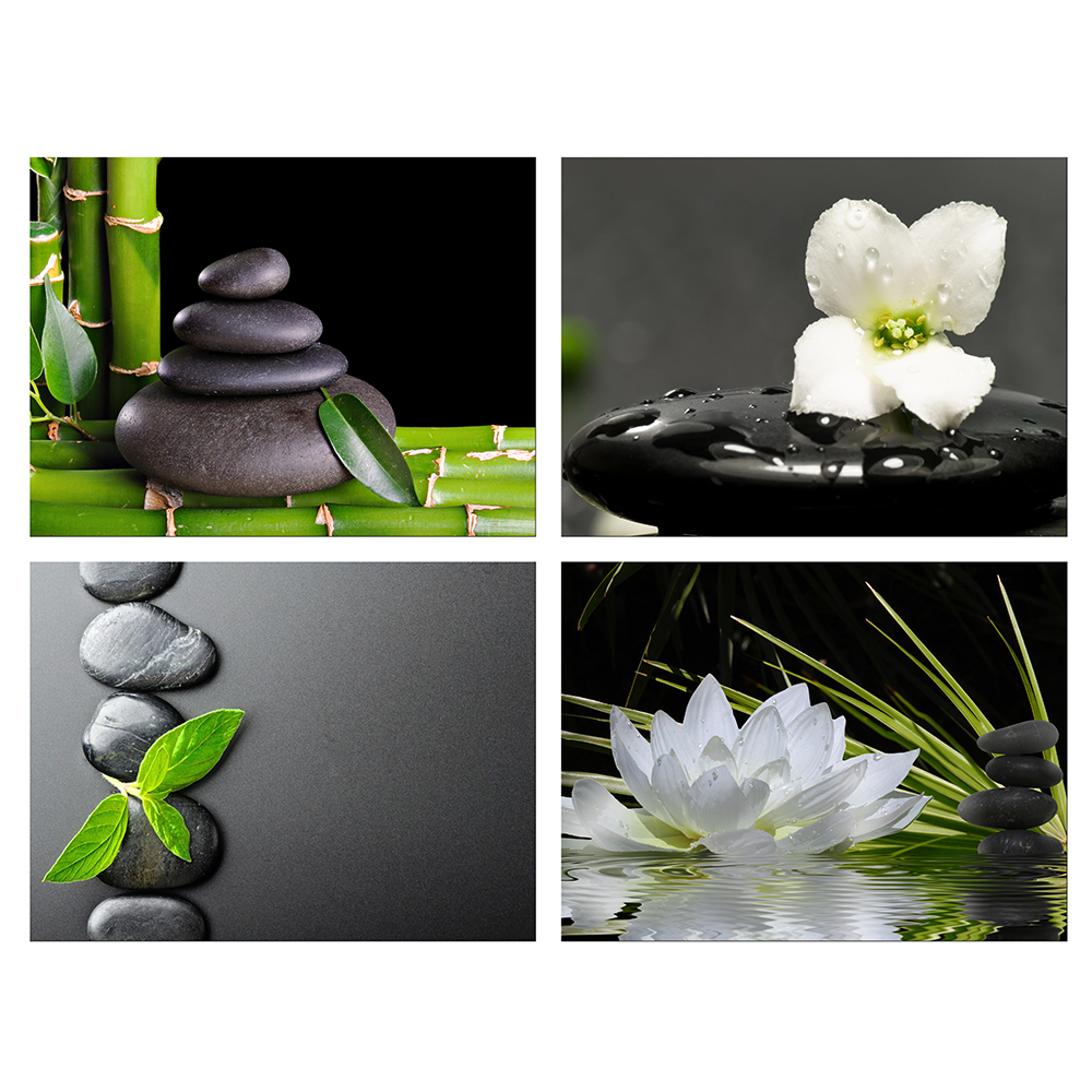 Black stone white orchid water drops Canvas Art Cheap Wall Print Home Interior
