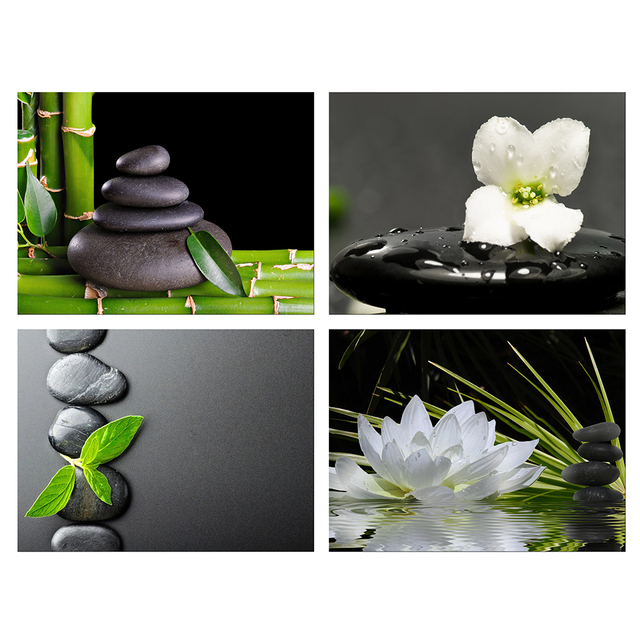 4 panels home decorative painting zen poster canvas wall art black stone white lotus and orchid