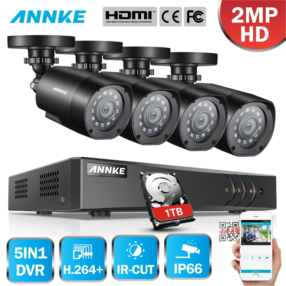 ANNKE 1080 P 5in1 8CH Lite H.264 + DVR 1080 P HD TVI Smart IR Bullet Intempéries Caméras de Sécurité caméra de surveillance cctv système