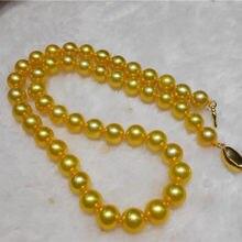 """AAAAA блеск 1"""" 10-11 мм натуральной круглый южного моря золотой жемчужное ожерелье> жемчужное ожерелье женщина"""
