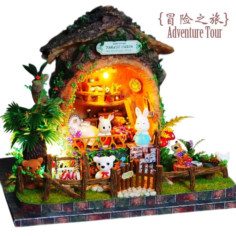 B003 Diy Dollhouse Miniature Handmade Miniaturas doll house wooden Casa De Boneca with dolls For Birthday Gifts--Adventure tourB003 Diy Dollhouse Miniature Handmade Miniaturas doll house wooden Casa De Boneca with dolls For Birthday Gifts--Adventure tour
