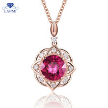 14K Rose Gold Red Ruby Necklace Pendant Natural Diamond  Fantastic Dancing Jewelry WP050
