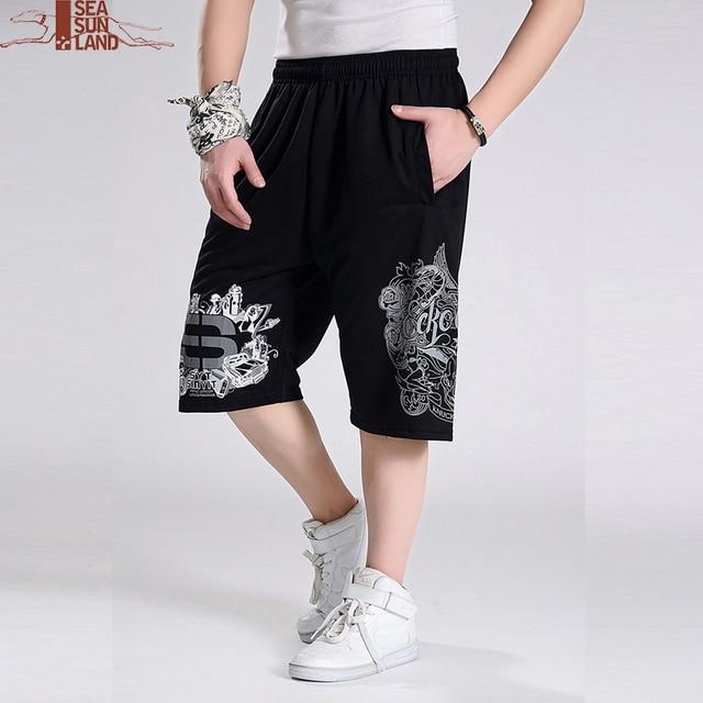 46c15047021b8 SeaSunLand hombres pantalones cortos sueltos hip hop verano 6XL más tamaño  ocasional masculina ropa basculador ejercicio