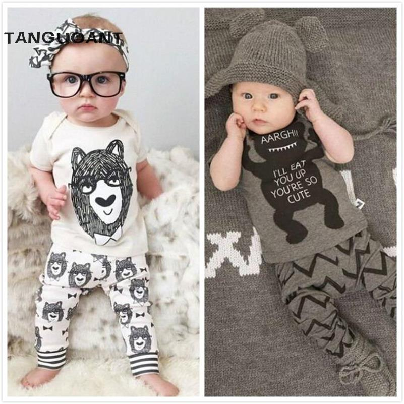 TANGUOANT New 2017 summer style Cotton little monsters short sleeve infant clothes 2 pcs baby clothing sets baby boy clothes