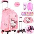 Hello Kitty Дети Ранцы Mochilas Дети прокатки Рюкзаки С Колеса Тележки Для Багажа Для Девочек рюкзак