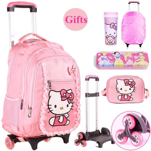 514f71f4c Hello Kitty Niños Mochilas escolares Mochilas Niños mochilas con ruedas Con  Ruedas Equipaje de la Carretilla