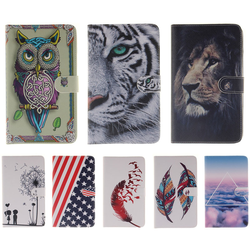 Flag feather leaf Colorful Cartoon  PU Leather Cover For samsung galaxy tab a 7.0 case T280 SM-T280 Tablet Shell Protector B45 ultra thin smart flip pu leather cover for lenovo tab 2 a10 30 70f x30f x30m 10 1 tablet case screen protector stylus pen