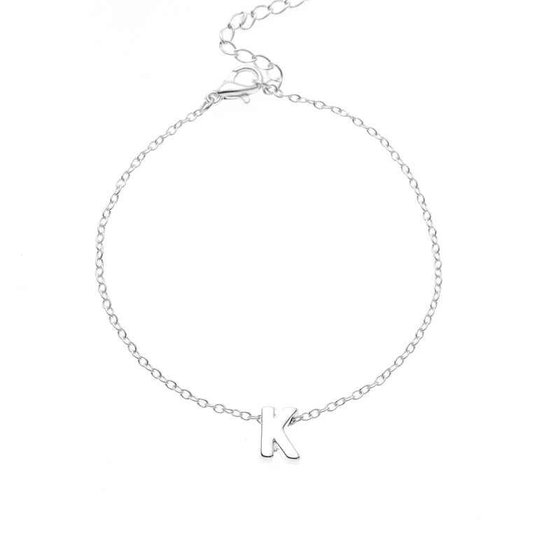 26 alfabet pierwsza litera bransoletka wisiorek dla kobiet dziewczyna moda złoty kolor srebrny dziewczyna łańcuch list urok biżuterii