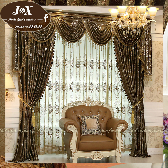Italian Embossed Embroidered Brand Upscale Atmosphere European Luxury  Living Room Curtains Study Yarn Custom Free Shipping