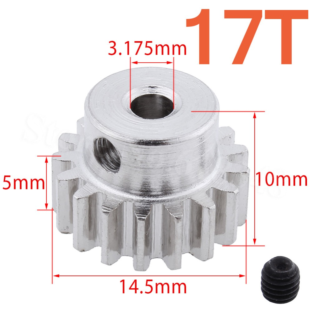 Steel Metal Motor Pinion Gear 17T 0.8 Module For 1:10 Himoto E10MT E10MTL Bowie Off Road Monster Truck Spare Parts