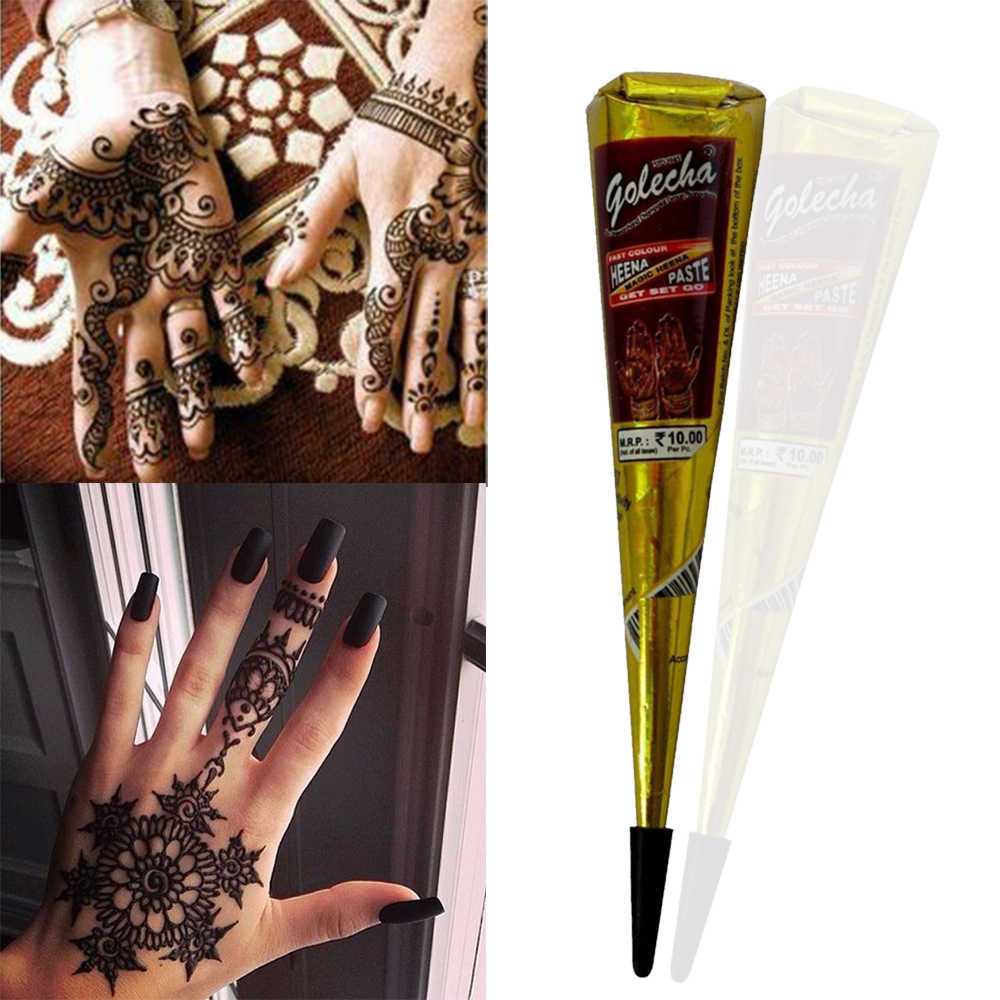 58c1a8214 1 Piece Black Color Indian Henna Paste Cone Mehndi Finger Body Cream Paint  DIY Temporary Drawing