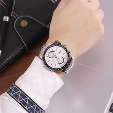383c0c84490 Nova Marca McyKcy Populares Homens Relógio Negócio Relógio de Quartzo Cheio  de Aço Inoxidável Relógio Do